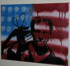Daryl Dixon Original Painting on canvas  Walking Dead American Flag