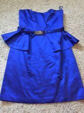 Trina Turk Royal Blue Peplum Silk Strapless Cocktail Dress Sz 6 Nwt $378