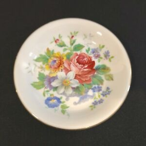 Royal Albert England Butter Pat Plate Pin Dish Floral Theme Gold Trim