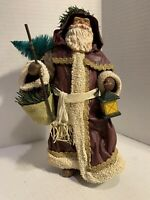 Vintage Midwest Fabric Mache Santa In Brown Suit with Lantern