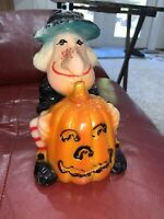 "Vintage 8"" Witch With Jack-O-Lantern Candle Figural Italy"
