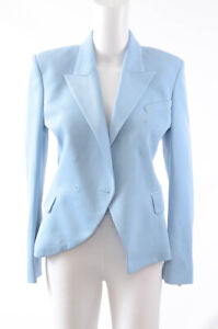 Balmain sky blue 6 S 38 virgin wool double breasted blazer jacket top $2295