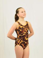 Gymnastics Tank Leotard size Med Child multicolor black/yellow/orange foil