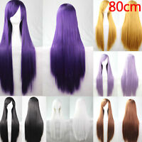 New 80cm Female Straight Short Hair Wig Cosplay Party Anime Full Wigs Colorful