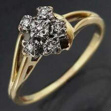 Small Pentagonal 6 DIAMONDS 9k SOLID  YELLOW GOLD CLUSTER RING Mid Sz M