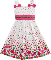 Robe Fille Punaise Imprimer Colorful Point Enfants Vêtements 2-8 ans