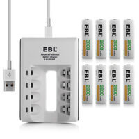 EBL 8 Pack 2800mAh AA Ni-Mh Rechargeable Batteries + AA AAA Battery Charger