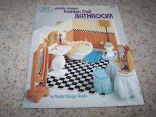 BARBIE Fashion Doll PLASTIC CANVAS BATHROOM Pattern Book 3089
