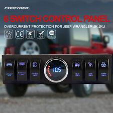6 Rocker Switches On/Off LED Lights Bar Control Panel for Jeep Wrangler JK JKU