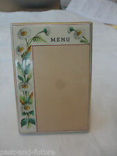 "Antique Porcelain Hand Painted Daisy Menu Holder With Bud Vase, 5 3/4"" Tall"