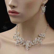 Crystal Wire Wrapped Necklace Earrings Bridal Wedding Jewelry Set 00663 Silver