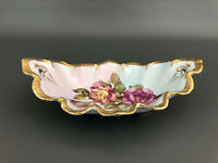 vintage ceramic relish tray - ruffled gold edge with pink roses