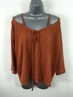 WOMENS ASOS FOX BROWN TIE UP COLD SHOULDER 3/4 SLEEVE TRANSLUCENT BLOUSE UK 14