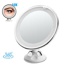 10X Magnification Makeup Mirror Vanity 360°Rotation Cosmetic Tabletop+ LED Light