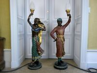 Pair of Bronze Indian Figure Standing Lamps