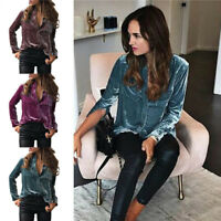 2018 Fashion Women Ladies Velvet Long Sleeve Tops Slim Fit Blouse Casual T Shirt