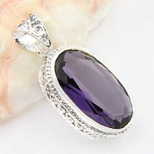 New Arrival Antique Oval Attractive Amethyst Gems Silver Pendant Xmas GIFTS