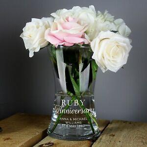 Personalised 'Ruby Anniversary' 40th Wedding Anniversary Glass Vase Gift