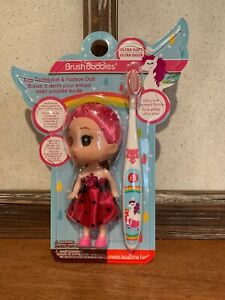Brush Buddies Girls Kids Unicorn Toothbrush with Fashion Doll Pink