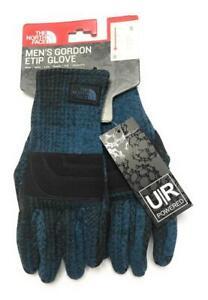 New The North Face Men's Gordon Etip Tech Winter Gloves, Shady Blue Plaid,Small