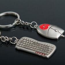1Pair Mouse + Keyboard Keyring Car Key Ring Fob Keychain Lover Gift