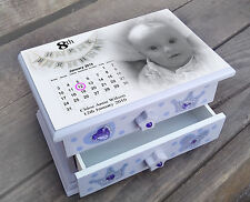 Personalised musical jewellery box, baby girl 8th birthday memory box present