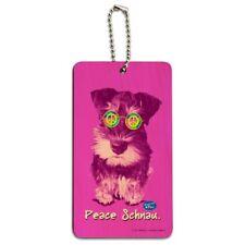 Peace Schnau Schnauzer Puppy Dog Sunglasses Vintage Retro Wood Luggage Id Tag
