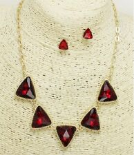 Gold and Red Triangle Crystal Necklace Set