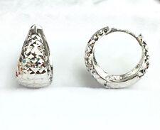 18k Solid White Gold Cute Hoop Earrings, Diamond Cut 2.89 grams