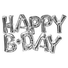Happy B-Day Silver Foil Balloon Party Supplies Decorations Celebrations Birthday