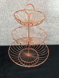 3 Tier Kuper Style  Fruit Metal Basket Holder Stand Rack Storage ~ Rose Gold