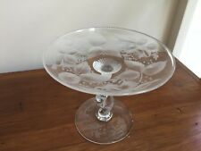 signed ANTIQUE LIBBEY CUT and ETCHED GLASS TAZZA  compote