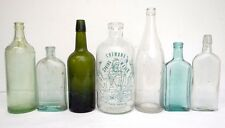 Antique & Vintage Green Blue Glass Moxie Fellows Dr. Pierce Prescription Bottles