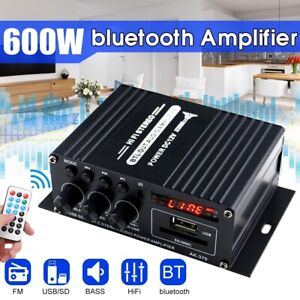 600W 2 Channel Home Car Amplifier bluetooth HiFi Power Stereo Audio Receiver