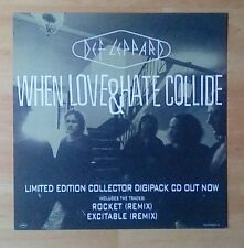 """DEF LEPPARD -Promotional 12"""" x 12"""" Card (Flat) WHEN LOVE & HATE COLLIDE"""