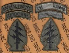 US Army Special Forces Group Airborne SFGA OD Green & Black BDU patch m/e set