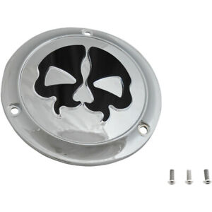 Drag Specialties Chrome Split Skull Derby Cover for 1970-1998 Harley Big Twin