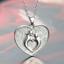 Fashion Mother And Child Heart Pendant Sculpted Jewelry Keepsake Urn Necklace 1P