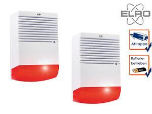 2 Stk Dummy Sirene mit blinkender LED Batteriebetrieb Alarmanlagen Attrappe Haus