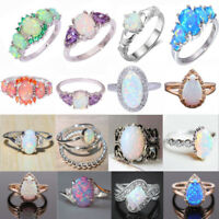 White Fire Opal 925 Silver Filled Gemstone Wedding Party Jewelry Rings Sz5-11