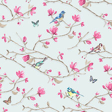 98123 Blue Pink Aves Floral Kira Holden Decor Bloomsbury Wallpaper