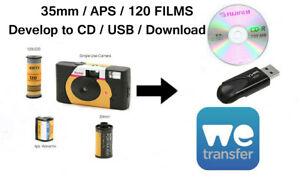 COLOUR FILM DEVELOP & 4.5Mb We Transfer/CD/USB - 35mm/120/APS