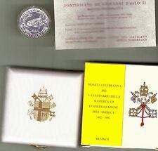 VATICANO: GIOVANI PAOLO II, 1992 SCOPERTA DELL'AMERICA, LIRE 500 D'ARGENTO FDC
