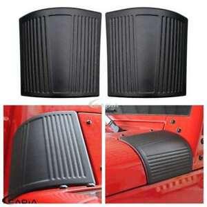 Luxury Black ABS Side Hood Hinge Wrap Cover Trim For Jeep Wrangler JK 2007-2016