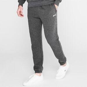 Mens Slazenger Dark Grey Marl Cuffed Jersey Jogging Tracksuit Bottoms Joggers