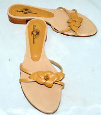 bce38e90d97 Tommy Bahama Golden Brown Womens Leather Flower Sandals Size 6 M Made In  Spain