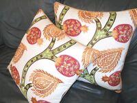 Throw Pillows Schumacher fabric NURATA Embroidery Custom designer pillows PAIR