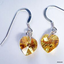 Sterling Silver earrings made with Swarovski Topaz AB  component