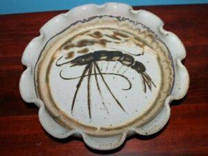 """CADY CLAY WORKS 10"""" Shrimp bowl Ceramic NC Art"""