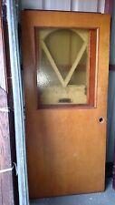 Vintage Exterior Door Solid Wood Door With Yellow Glass Approx 36 X 79